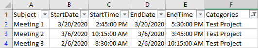 Excel table with filter applied