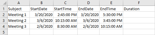 Excel table used for Duration calculations