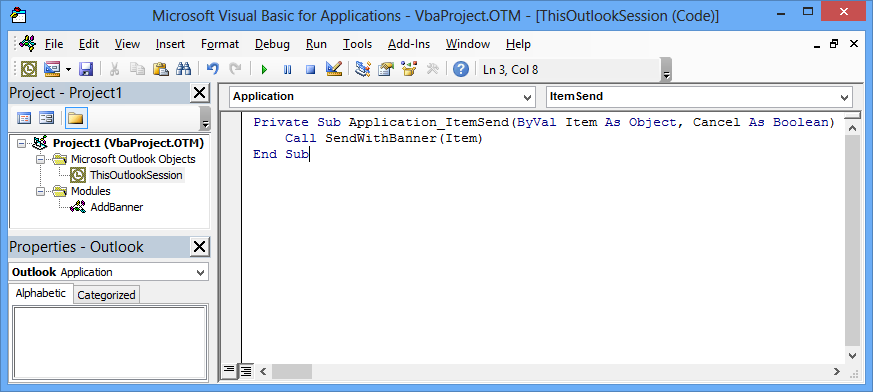 Aside from the AddBanner module, you must add 3 lines of code to ThisOutlookSession. (click on image to enlarge)