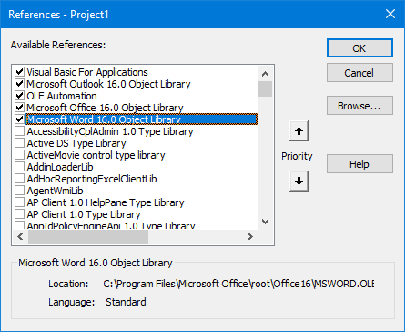 A reference to the Microsoft Word Object Library is required for this macro to work.