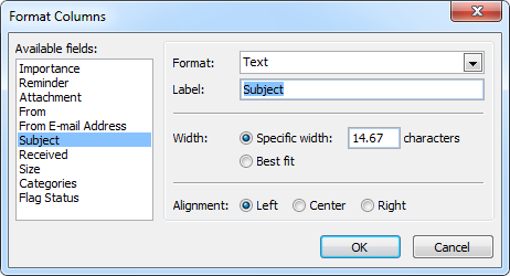 Format Columns - Removing the label from the Subject column.