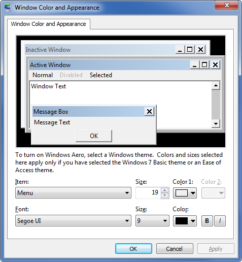 Window Color and Appearance settings in Windows 7