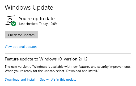 Optional updates availabe - Feature update to Windows 10, version 20H2