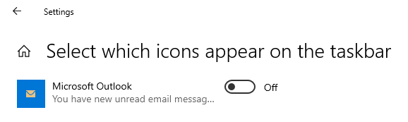 Select which icons appear on the taksbar - Microsoft Outlook - You have new unread email messages - On