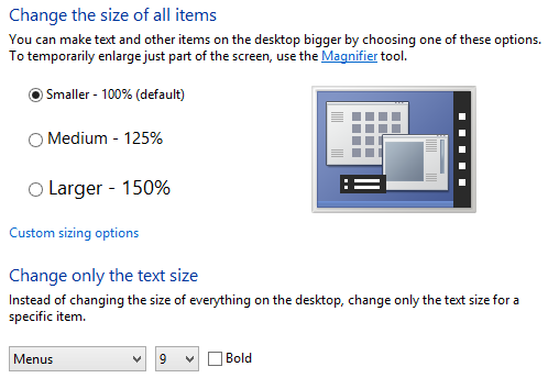 Change dpi and font size in Windows 8