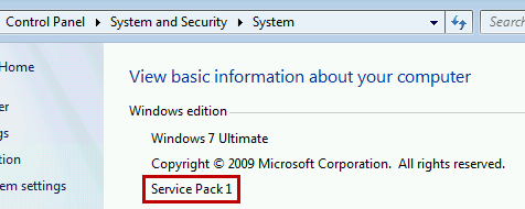 Windows 7 Service Pack Level