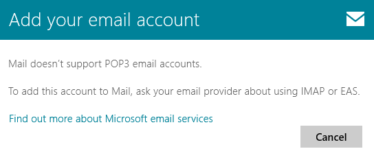The Windows 8 Mail App doesn't support POP3; Outlook does, even on Windows 8!