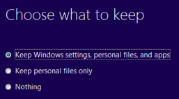 Windows 8 upgrade from Windows 7 - Choose what to keep